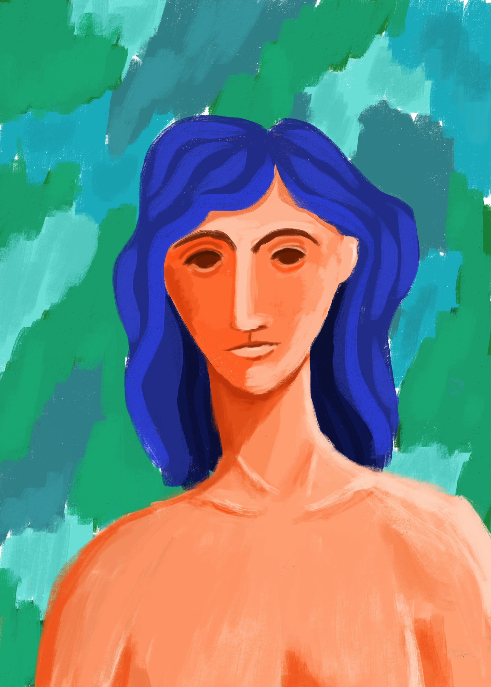 Blue haired woman by Lisa Bardot