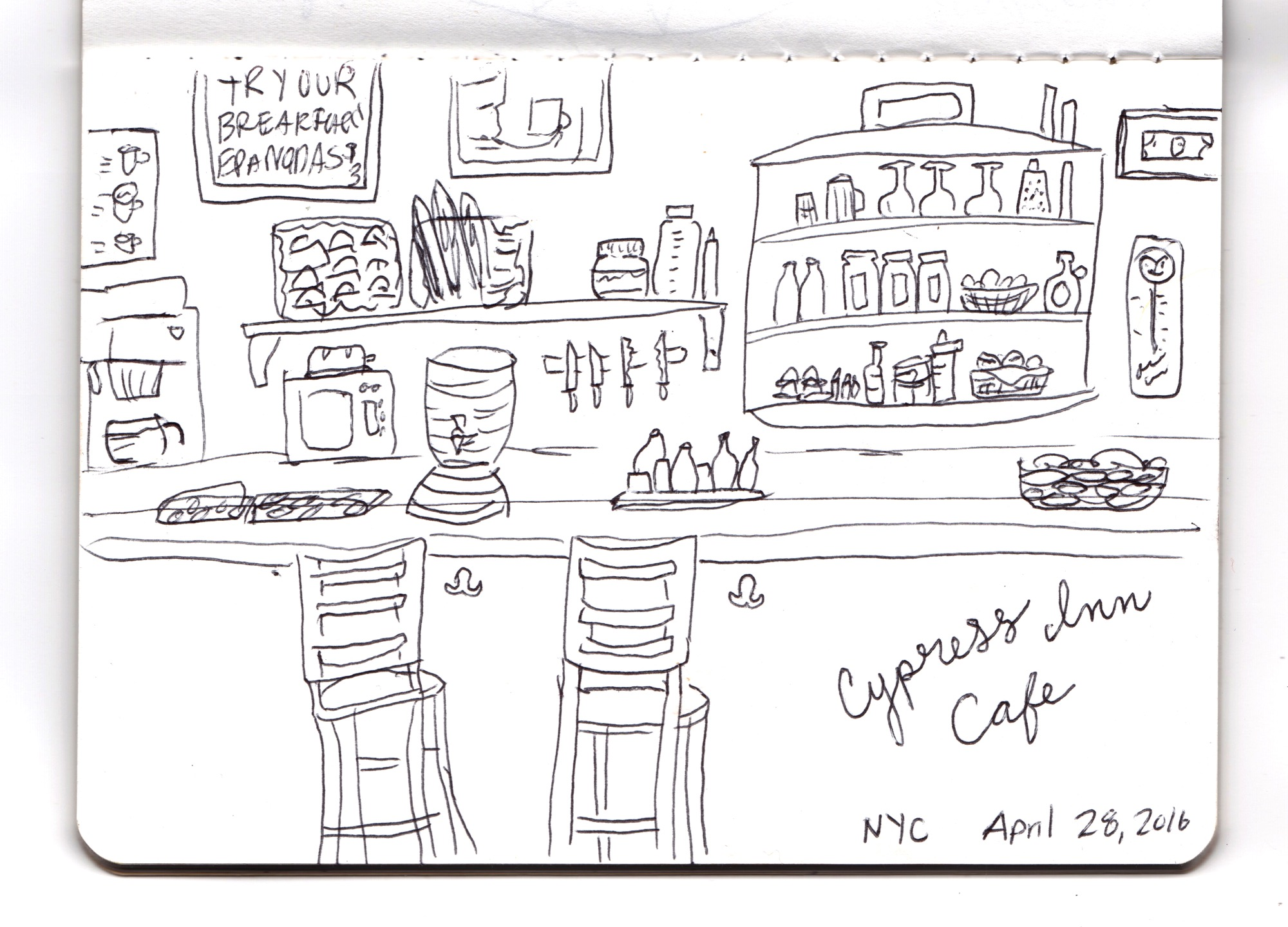 Cypress Inn Cafe Sketch by Lisa Bardot