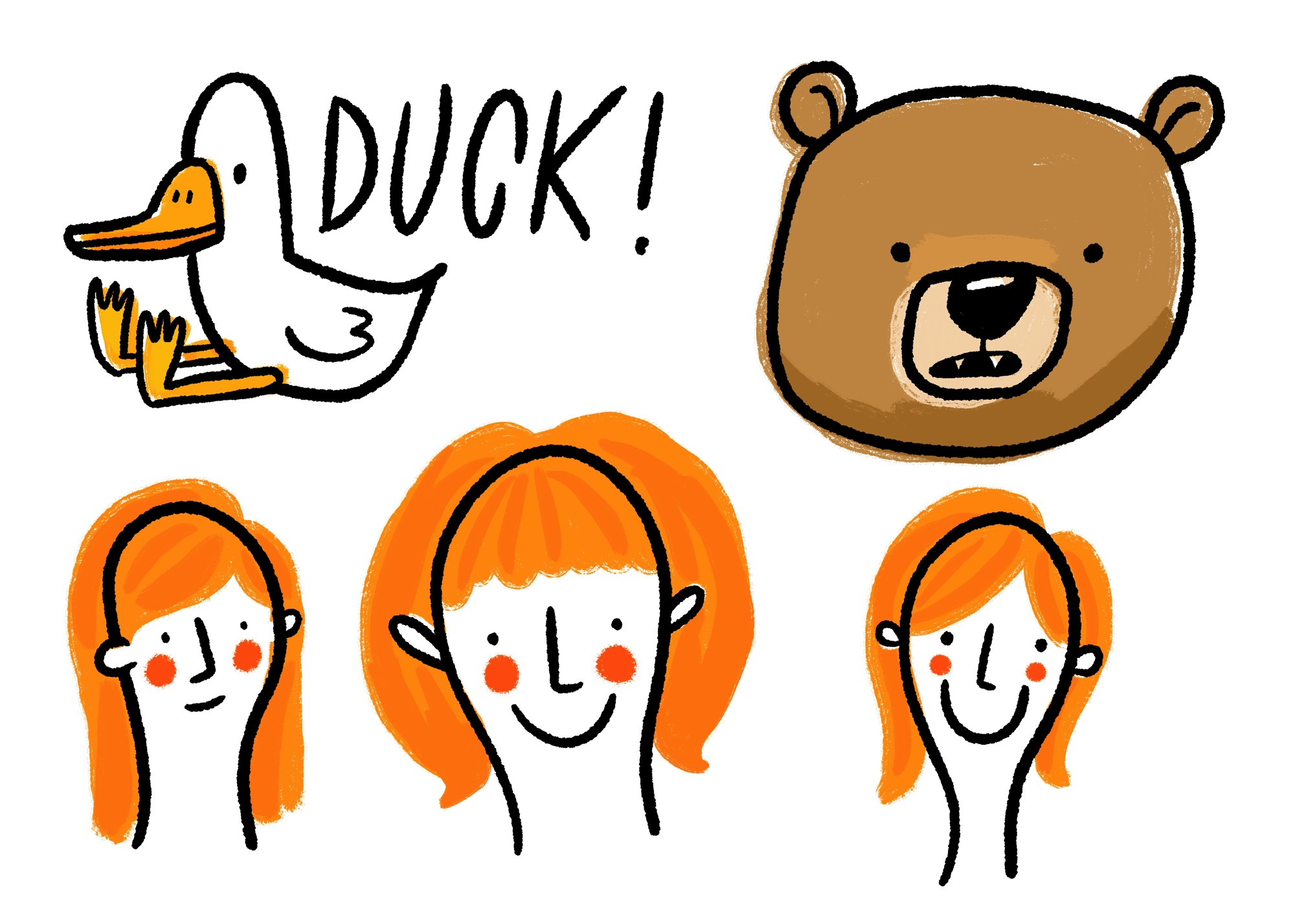Duck Bear and Three Girls