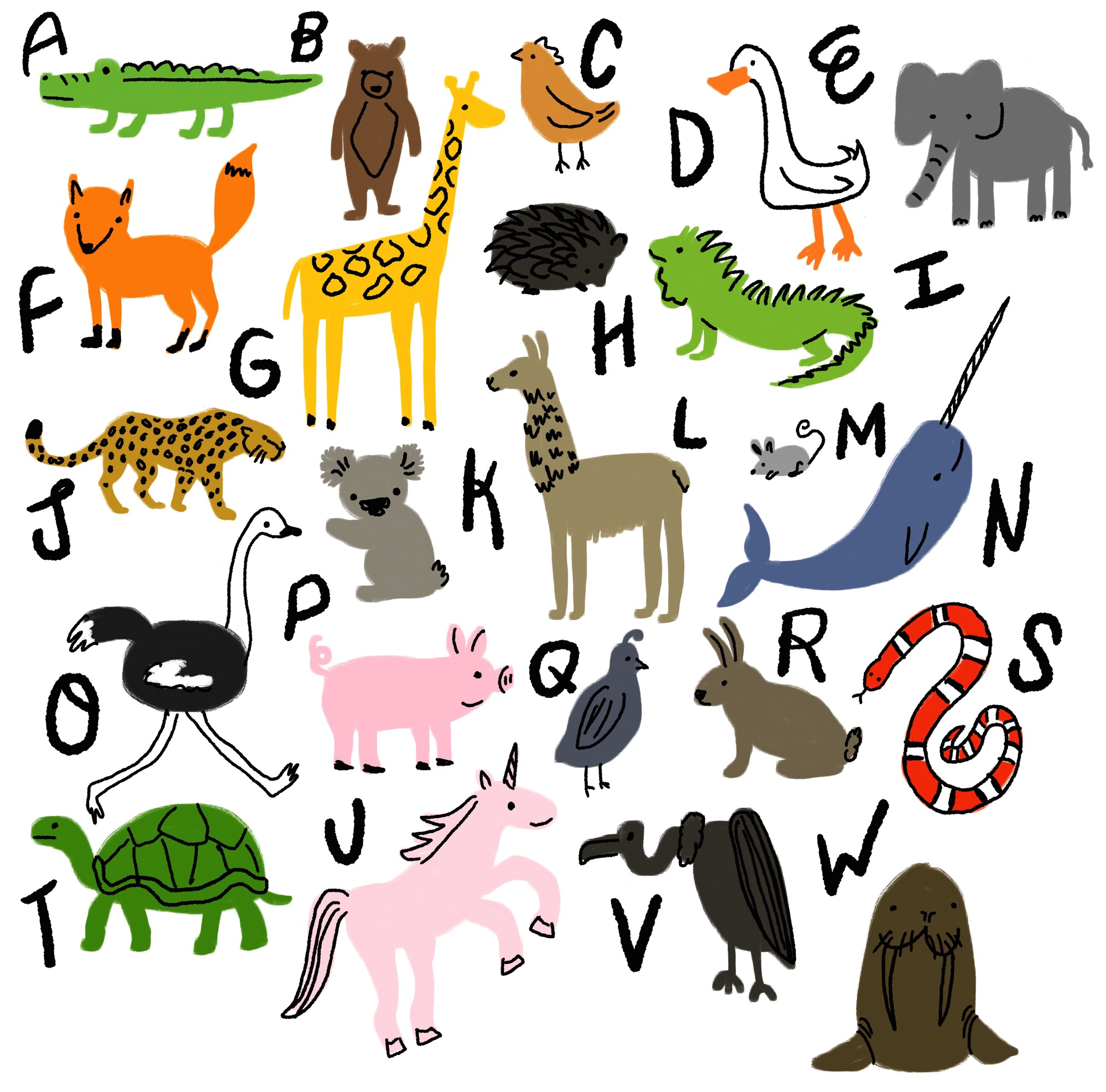 Incomplete animal alphabet